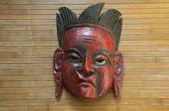 Ceremonial mask from South America. Old ceremonial mask from South America made of the hard wood royalty free stock images