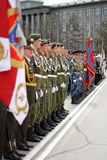 Ceremonial parade. Military parade in Russia devoted to the Victory Day in World War II Stock Photo