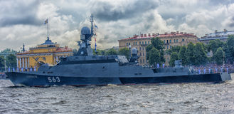The ceremonial parade on the occasion of the Day of the Russian Navy. Russia, St. Petersburg, 30,07,2017 The ceremonial parade on the occasion of the Day of the Royalty Free Stock Photography