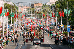 Ceremonial Parade Procession On Festive Decorated Street. Celebration Victory Day 9 May. Gomel, Belarus - May 9, 2016: The Ceremonial Procession Of Parade Stock Photo