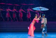 Ceremonial paraguas-ella danza popular aduana-china de la nacionalidad Fotos de archivo