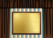Ceremonial Plaque with Curtains. Vector illustration of a gold or brass brushed metal plaque Royalty Free Stock Image