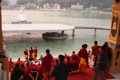 Ceremonial in Rishikesh Stock Images