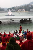 Ceremonial on the River Ganges Royalty Free Stock Image
