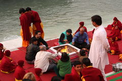 Ceremonial on the River Ganges Royalty Free Stock Photos