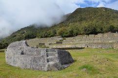 Ceremonial rock at Machu Picchu stock photo