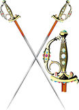Ceremonial_sword(1). Two crossed ornate ceremonial sword isolated on white stock illustration