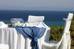 Ceremonial table on the coast Stock Photography