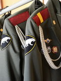 Ceremonial tunic in the military barracks. MOSCOW, RUSSIA - APRIL 24, 2014: Ceremonial tunic in the military barracks Stock Photography
