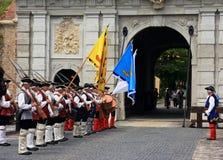 Ceremonie bij het kasteel Stock Fotografie