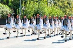 Ceremonie het veranderen van de wachten in Athene Stock Afbeeldingen