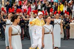 Ceremonie van de Olympische Vlam voor de Winterolympics Stock Fotografie