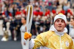 Ceremonie van de Olympische Vlam voor de Winterolympics Stock Foto