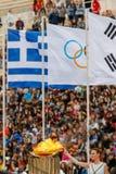 Ceremonie van de Olympische Vlam voor de Winterolympics Royalty-vrije Stock Foto's