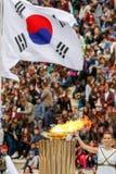 Ceremonie van de Olympische Vlam voor de Winterolympics Royalty-vrije Stock Foto