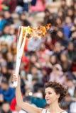 Ceremonie van de Olympische Vlam voor de Winterolympics Stock Afbeeldingen
