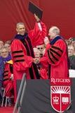Ceremonie van het de Verjaardagsbegin van Barack Obama Attends de 250ste bij Rutgers-Universiteit Royalty-vrije Stock Foto's