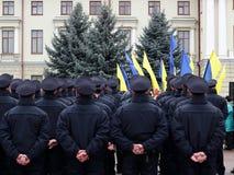 Ceremonie van het nemen van eed door de nieuwe patrouillepolitie in Khmelnytskyi, de Oekraïne stock afbeeldingen