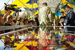 Ceremonies dedicated to the Day of State Flag of Ukraine Royalty Free Stock Photography