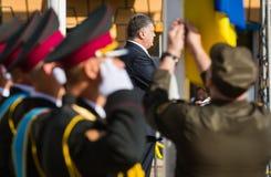 Ceremonies dedicated to the Day of State Flag of Ukraine. KIEV, UKRAINE - Aug 23, 2015: President of Ukraine Petro Poroshenko at the solemn ceremony dedicated to royalty free stock photography
