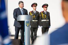 Ceremonies dedicated to the Day of State Flag of Ukraine. KIEV, UKRAINE - Aug 23, 2015: President of Ukraine Petro Poroshenko at the solemn ceremony dedicated to royalty free stock images