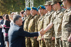 Ceremonies dedicated to the Day of State Flag of Ukraine. KIEV, UKRAINE - Aug 23, 2015: President of Ukraine Petro Poroshenko at the solemn ceremony dedicated to royalty free stock photo