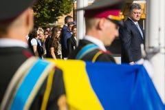 Ceremonies dedicated to the Day of State Flag of Ukraine. KIEV, UKRAINE - Aug 23, 2015: President of Ukraine Petro Poroshenko at the solemn ceremony dedicated to royalty free stock photos