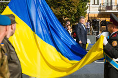 Ceremonies dedicated to the Day of State Flag of Ukraine. KIEV, UKRAINE - Aug 23, 2015: President of Ukraine Petro Poroshenko at the solemn ceremony dedicated to stock images