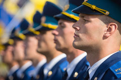 Ceremonies dedicated to the Day of State Flag of Ukraine. KIEV, UKRAINE - Aug 23, 2015: Soldiers of guard of honor at the solemn ceremony dedicated to the Day of royalty free stock photos