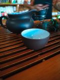ceremonii tradycyjny chiński herbaciany bambusa teapot i zdjęcia royalty free