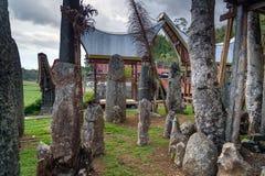 Ceremoniplats med megalit Bori Kalimbuang Tana Toraja Indonesien arkivfoton