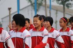 ceremoniporslinet spelar öppningsskolan Arkivfoto