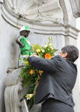 Ceremony of award of a new costume of a Lithuanian basketball player to Manneken Pis Stock Photos