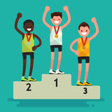 Ceremony of awarding medals. The three athletes on the pedestal. Vector illustration of a flat design Stock Photo