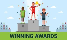 Winning awards vector illustration of a flat design stock illustration