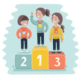 Ceremony of awarding medals. Three girl athletes on the pedestal. Vector illustration of a flat design. Vector cartoon funny illustration of ceremony of awarding Stock Photography