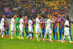 Ceremony of the beginning of a football match between Steaua Bucharest and Stromsgodset IF Norway, during the UEFA Champions Leagu Stock Photos