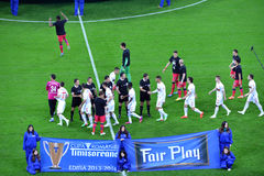 Ceremony of the beginning of a match between Dinamo and Steaua B Stock Images