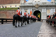 Ceremony at the castle with medieval soldiers Stock Photo
