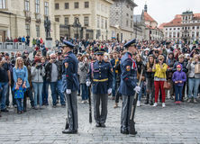 Ceremony of changing the guard of honor. Prague, The Residence Of The President Of The Czech Republic Stock Photo