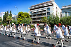 Ceremony changing of the guards in Athens Royalty Free Stock Photo