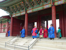 The ceremony changing of the guards at the Gyeongbokgung Palace complex in Seoul, Korea Royalty Free Stock Photography