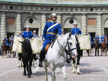 The ceremony of changing the Royal Guard in Stockholm, Sweden Stock Photos