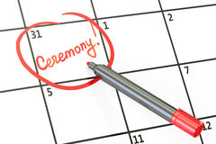 Ceremony date on calendar concept, 3D rendering Stock Photography