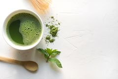 Free Ceremony Green Matcha Tea And Bamboo Whisk On White Concrete Table. Top View Stock Photos - 151393853
