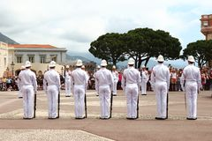 Ceremony of guard changing near Prince`s Palace, Monaco royalty free stock image