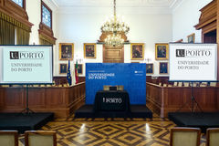 Ceremony hall at rectorate of Porto University. Great ceremony hall in rectorate building for welcoming students and other solemn meetings, with two projector royalty free stock image