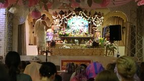 The ceremony in Hare Krishna Temple stock video
