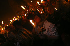 Ceremony of Holy Fire miracle Stock Photo