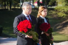 Ceremony of honoring memory of Babyn Yar victims, Ukraine. KIEV, UKRAINE - Sep. 29, 2017: President ofUkraine Petro Poroshenko and his wife Maryna Poroshenko Royalty Free Stock Images